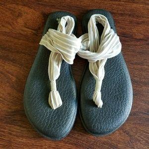 Sanuk sandals tan and white stripe